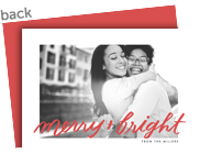 Merry Red Script Photo Christmas Card 7x5 Flat Card