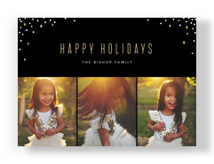 Holiday Photo Card - Confetti on Black 7x5 Flat Card