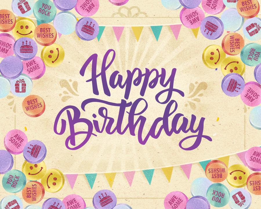Birthday Candies Personalize ECard