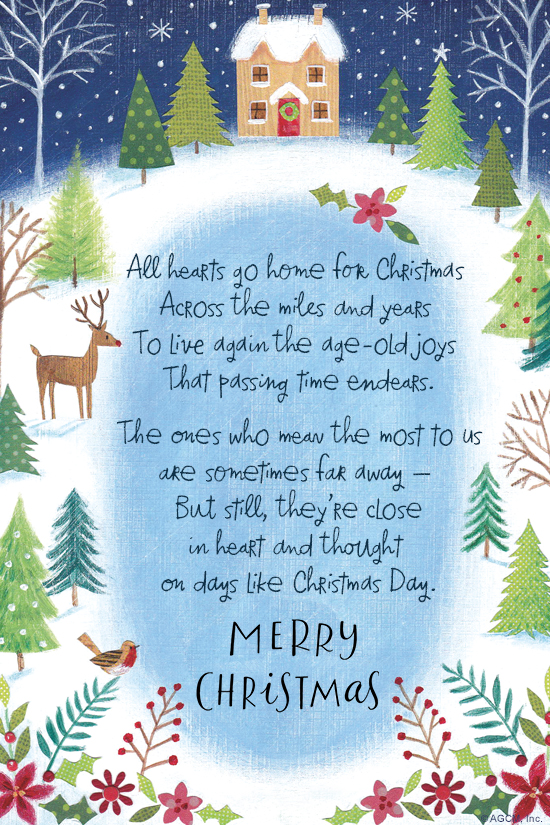 Christmas Poem.Christmas Poem Across The Miles Christmas Ecard Blue