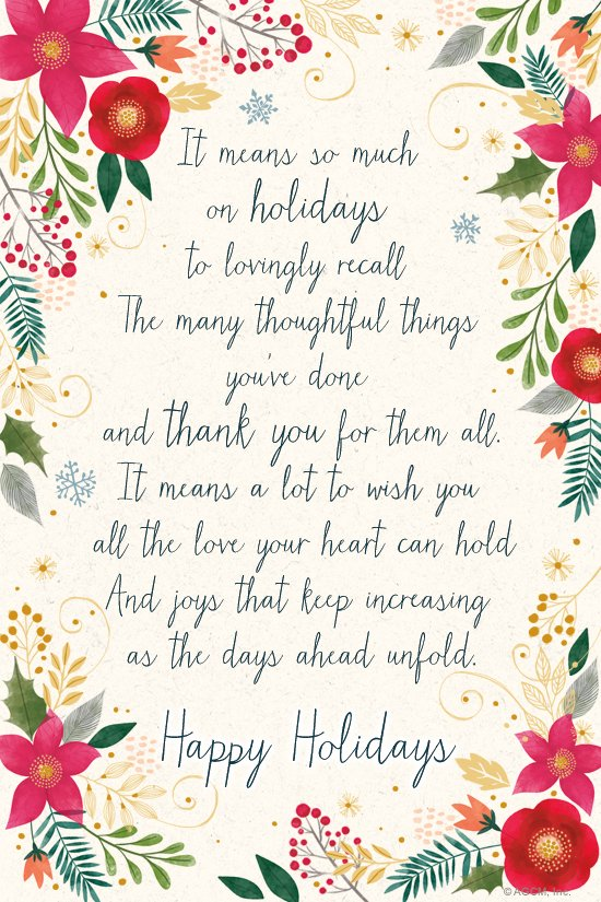 """""""Holiday Thank You Poem"""" 