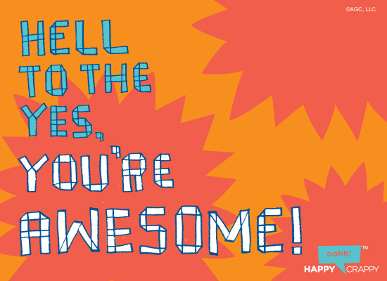 youre awesome postcard congratulations ecard