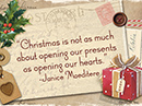 Open Hearts Christmas Quote Christmas Postcards