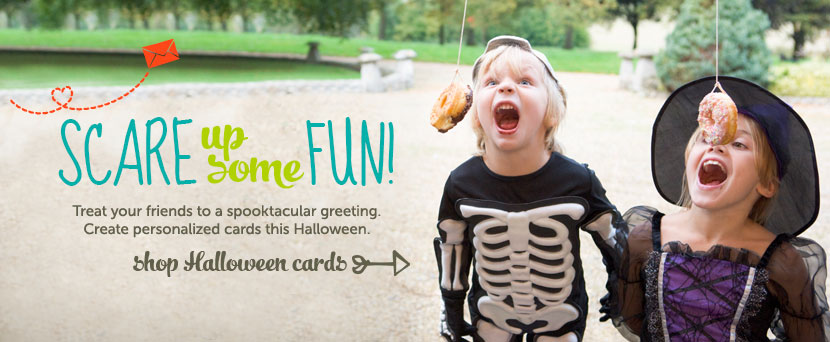 Scare up some fun!  Treat your friends to a spooktacular greeting.  Create personalized cards this Halloween.  Shop Halloween cards
