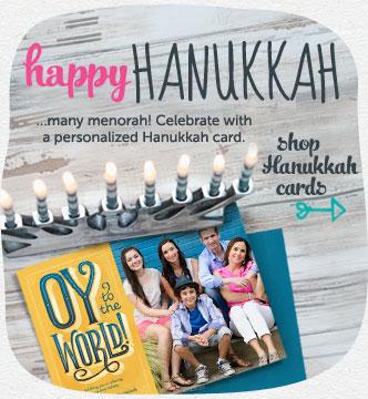 Happy Hanukkah and many menorah! Celebrate with a personalized Hanukkah card. Shop Hanukkah cards
