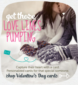 Get those love lines pumping.  Personalized greeting  cards for that special someone.  Shop Valentine's Day cards
