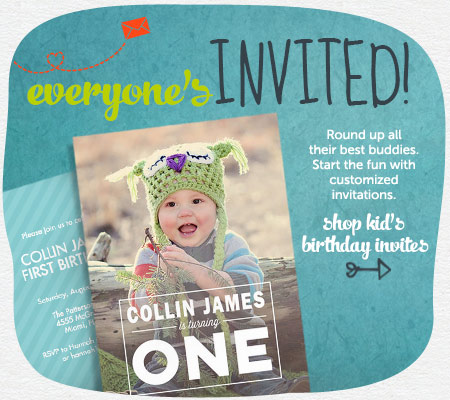 The gang's all here.  Round up the BFF's for a birthday bonanza!  Start the fun with a personalized invitation!  Shop Kid's Birthday Invites