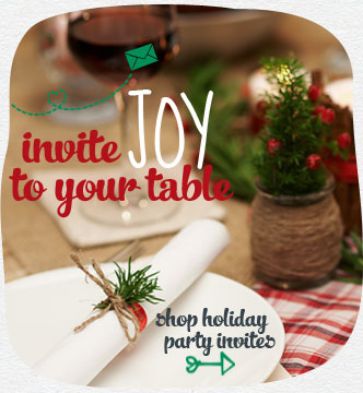 Invite joy to your table. Bring everyone together this season with festive holiday party invites that promise a happy time for all. Shop holiday party invites