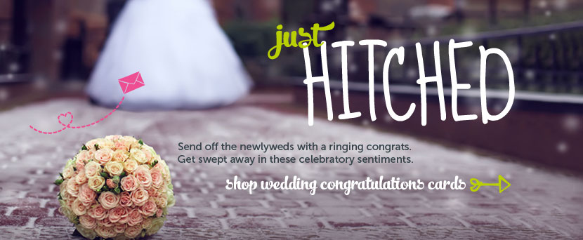 Just hitched.  Send off the newlyweds with a ringing congrats.  Get swept away in these celebratory sentiments.  Shop wedding congratulations cards