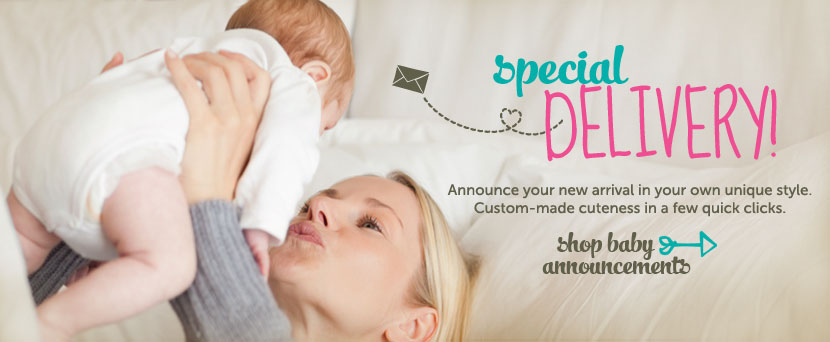 Special delivery! Announce your new arrival in your own unique style. Shop baby announcements