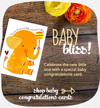 Baby bliss!  Celebrate the new little one with a special baby congratulations card.  Shop baby congratulations cards