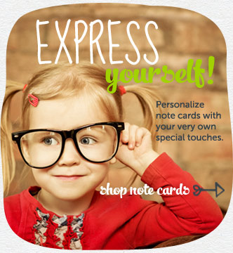 Express yourself!  Personalize note cards with your very own special touches.  Shop note cards