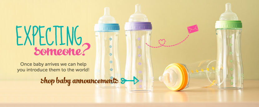 Expecting someone?  Once baby arrives we can help you introduce them to the world!  Shop baby announcements