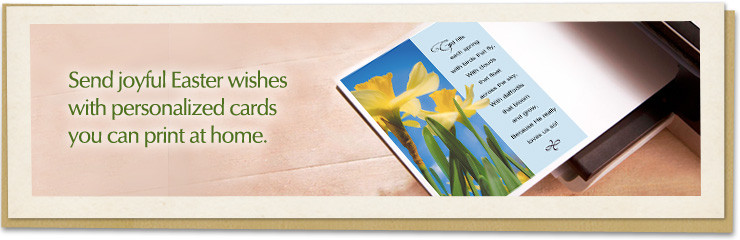Send joyful Easter wishes with personalized cards you can print at home.