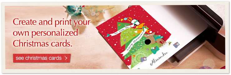 Create and print your own personalized Christmas cards. See Christmas cards