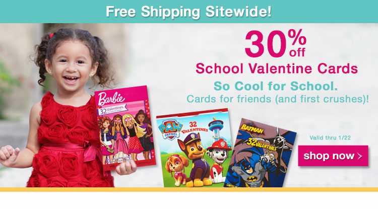 Promo Media Banner - 30 percent off School Valentine Cards