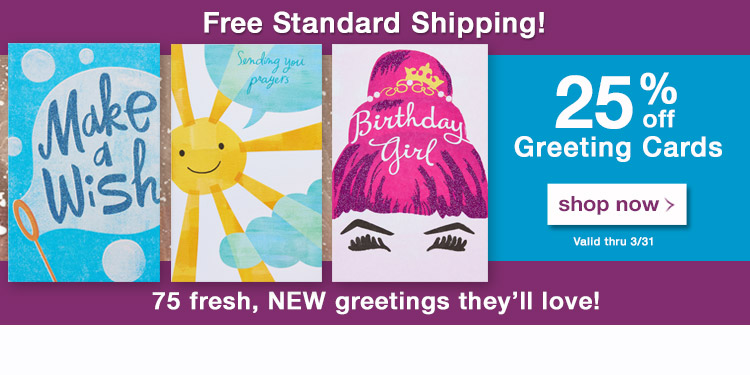 Promo Media Banner - 25% off Greeting Cards