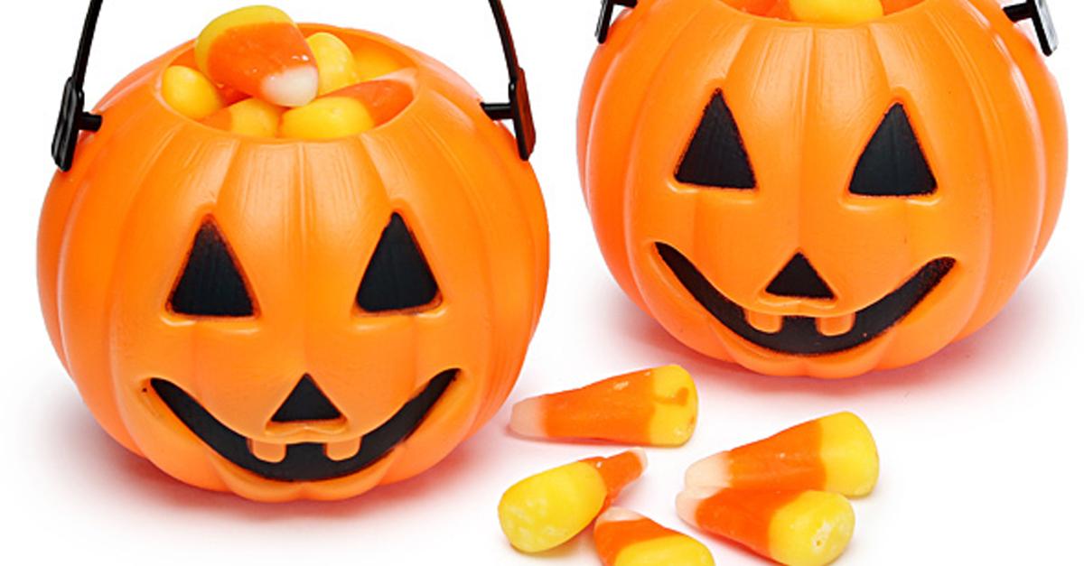 plastic pumpkins and candy corn