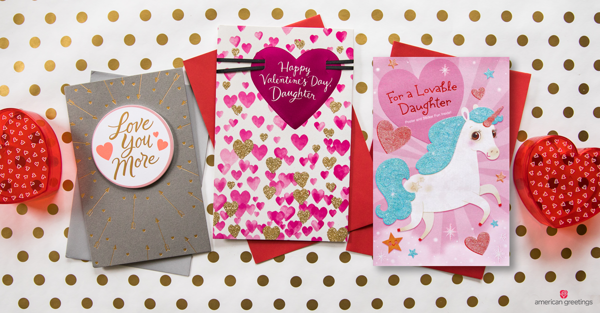 Pink and colorful Valentine's day cards for daughter