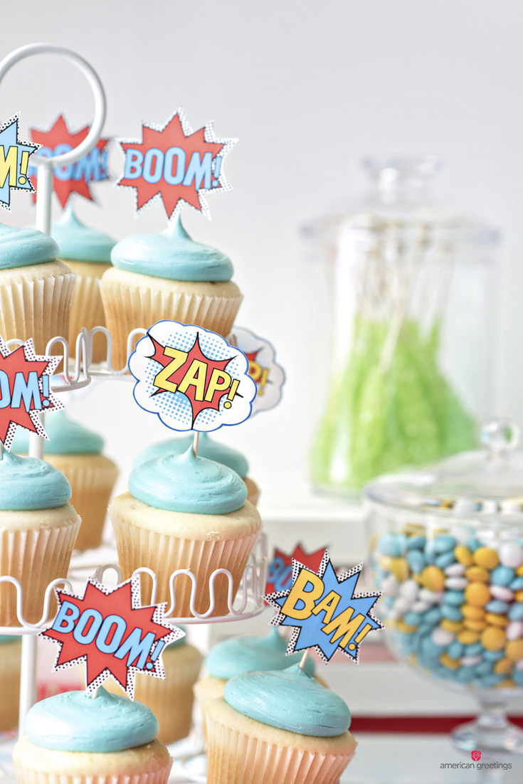 BAM/POW/BOOM starburst printables on top of the cupcakes