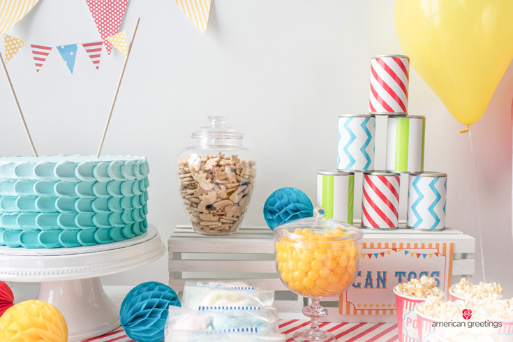 candy bar with red and white gumballs, ice cream cones, animal crackers and lemon drops