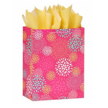 Pink Florals Gift Bag with Yellow Tissue Gift Wrap