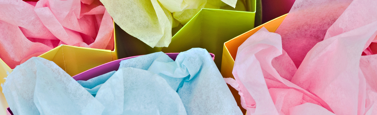 Close up of tissue paper in gift bags