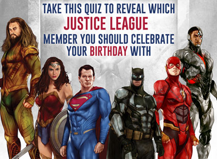 Batman, Wonder Woman, Aquaman, Cyborg, The Flash, Take this quiz to reveal which Justice League member you should celebrate your birthday with