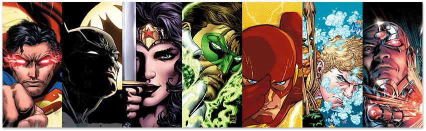 Batman, Wonder Woman, Aquaman, Cyborg, and The Flash