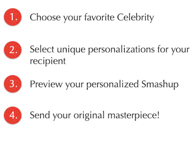 Steps to deliver a celebrity greetings 1. Choose your favorite celebrity 2. Select unique personalization 3. Preview 4. Send your masterpiece!