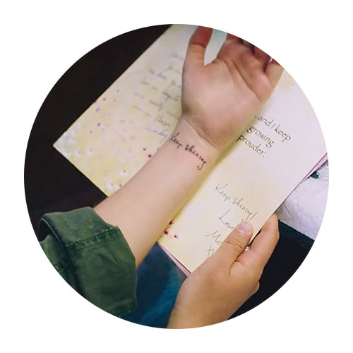 Keep Sharing Tattoo and Matching Greeting Card Text