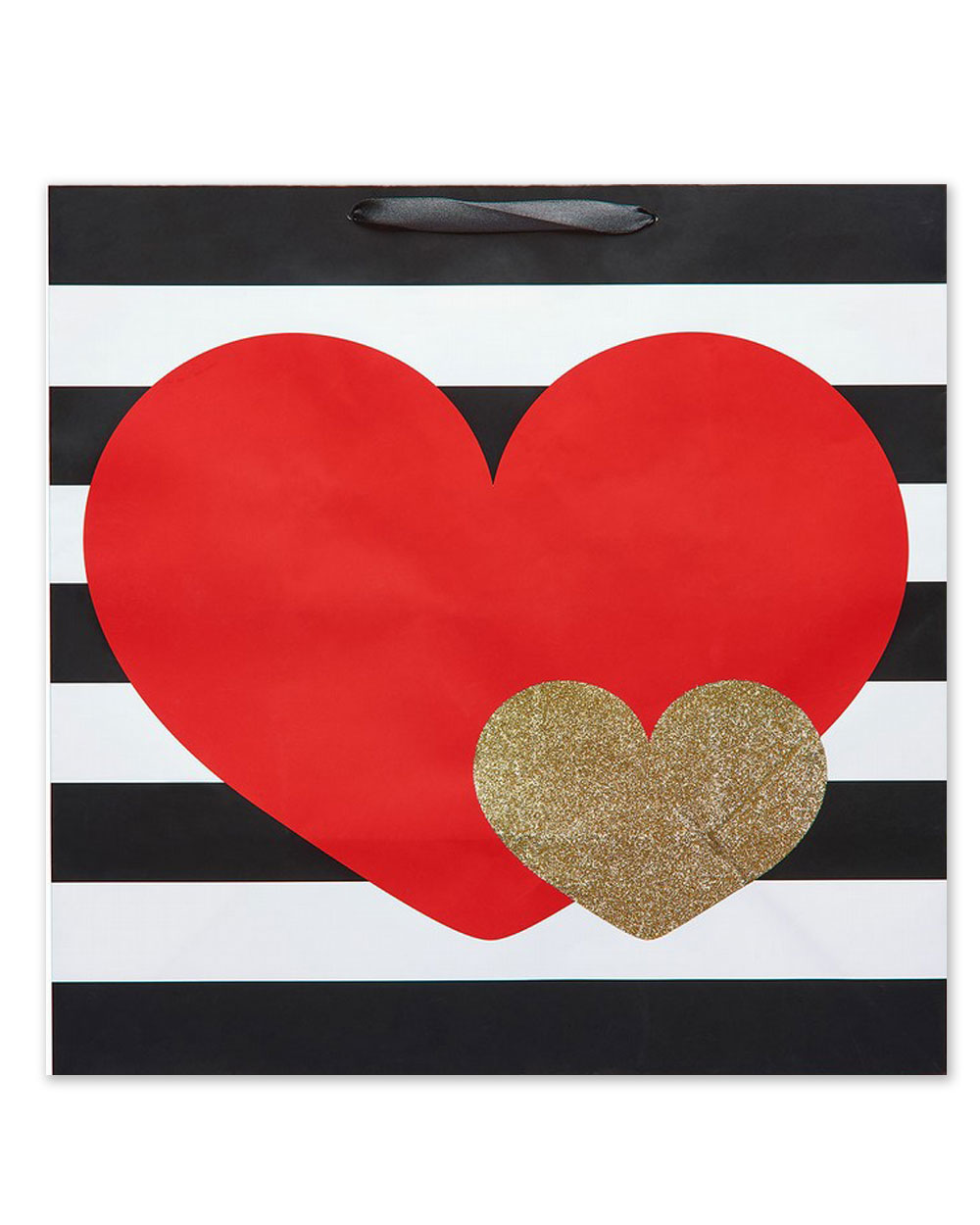 Double heart large striped bag
