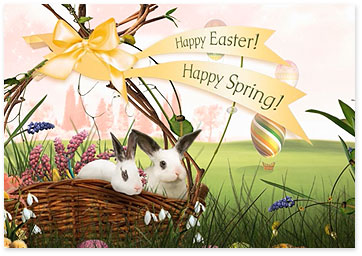 Easter ecard with bunny and basket - Browse Easter ecards