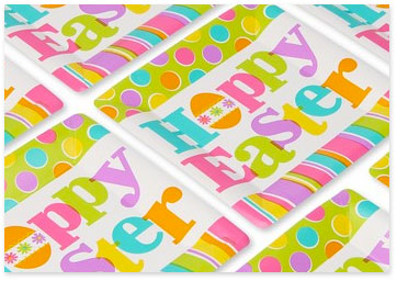 Colorful party plates that read Hoppy Easter - Shop party supplies