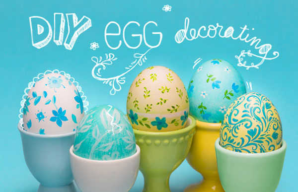 Pretty colorful decorated Easter eggs