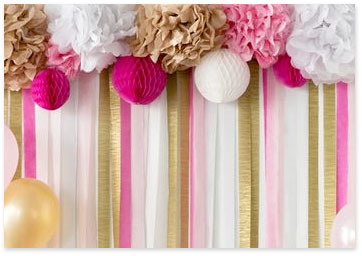 Pink and gold streamers - Shop party supplies