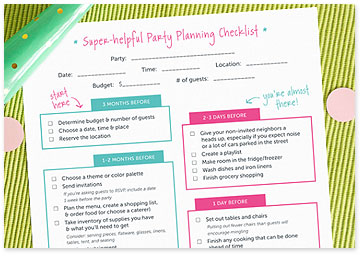 Party Planning Checklist in pink and teal - Download checklist