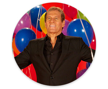 Michael Bolton with birthday balloons