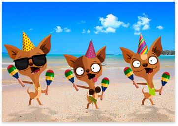 3 Chihuahuas wearing party hats dancing on beach - Browse birthday ecards