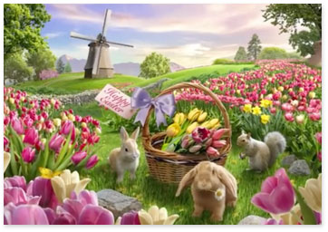 Bunnies and squirrel with a basket in a field of tulips with a windmill in the distance - Browse Easter ecards