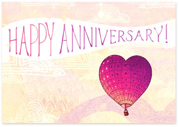 Happy Anniversary - Hot air balloon shaped like a heart - Browse anniversary ecards