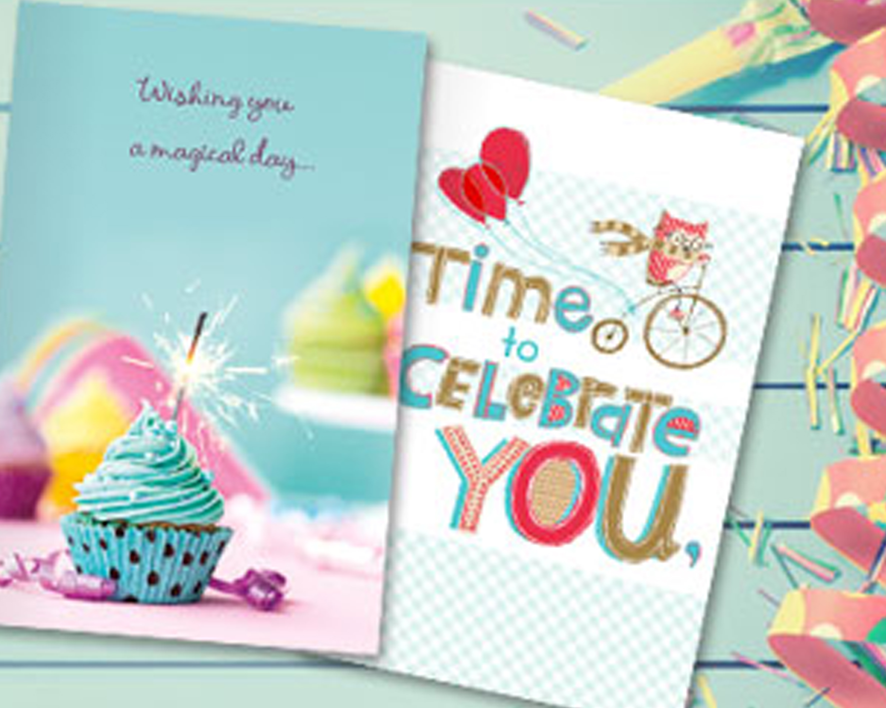 2 Birthday cards on blue background - View birthday printables