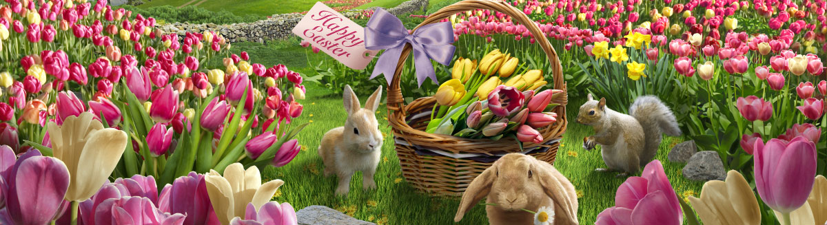 Easter bunnies and basket surrounded by beautiful pink and yellow flowers in a field.