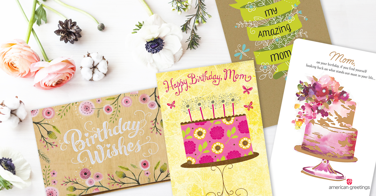 Colorful Birthday Cards For Mom Next To Flowers