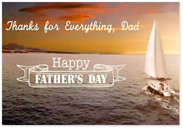 Father's Day Ecard with sunset and sailboat - Browse Father's Day ecards