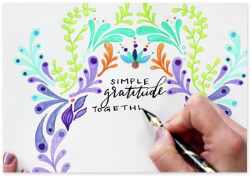 simple gratitude caligraphy on a colorful card