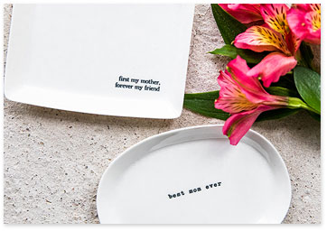 Two white dish trinket trays for mom