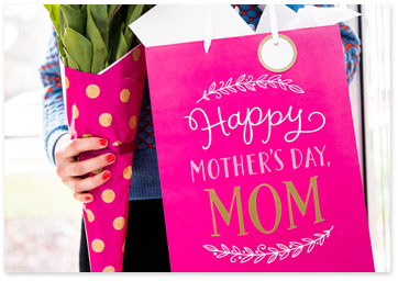 Tissue wrapped around flowers and mothers day gift bag - Shop gift wrap
