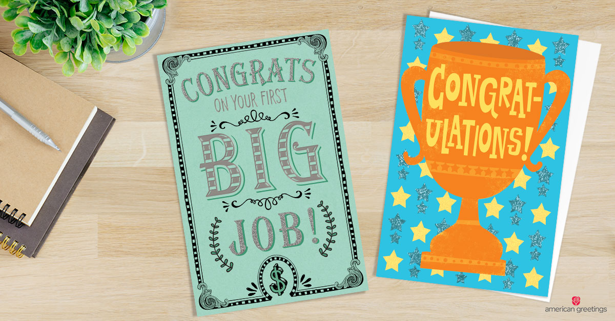 two congratulations cards for a new job
