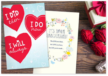 Image showcasing printable anniversary cards - Browse anniversary printables